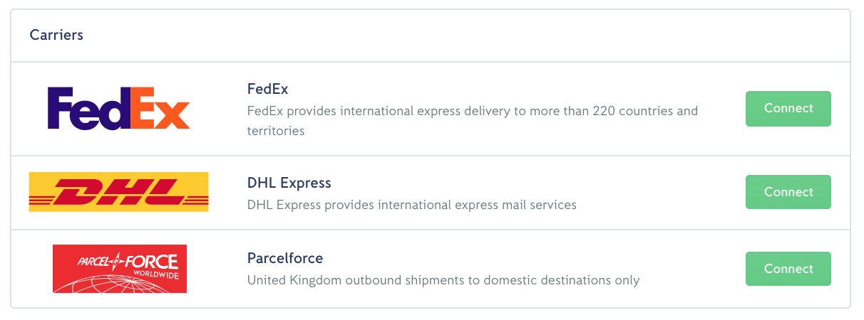 iZettle | Help - How to set up real-time carrier shipping rates