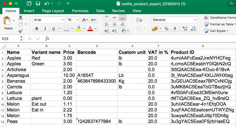 iZettle | Hilfe - Produkte importieren und exportieren