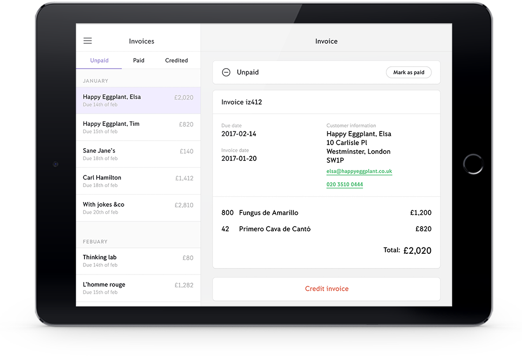 iZettle invoicing - create and send invoices from the app
