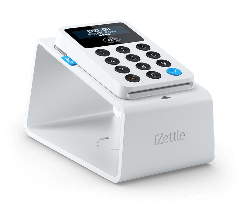 The iZettle card reader with a stand